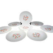 Eight Fire King Fleurette Dinner Plates