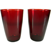 Two Vintage Anchor Hocking Royal Ruby Red Tapered Tumblers