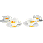 Four Fire King Orange Floral Cups & Saucers