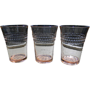 """Three 1930's Pink Roulette """"Many Windows"""" Water Tumblers by Hocking Glass"""