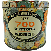 SOLD Colorful Vintage Button Tin with Buttons