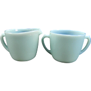 Fire King Turquoise Creamer & Sugar