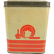 Vintage Red & Cream Square Canister with Kitchen Motif