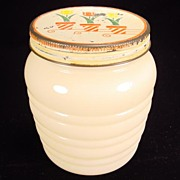 Fire King Ivory Grease Jar with Tulips Lid