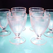 Six Pink Homespun Footed Juice Tumblers by Jeannette Glass Company