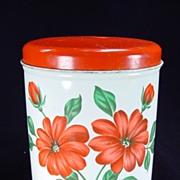 Vintage Red Floral Decoware Canister