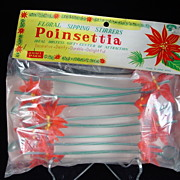 Vintage Poinsettia Floral Sipping Stirrers in Original Packaging