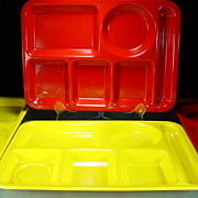 Four Red & Yellow Texas Ware Lunch Trays