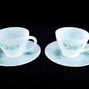 Two Fire King Premium Bonnie Blue Cups & Saucers