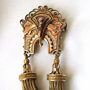 SALE Large and impressive Victorian tassel Pendant or Brooch, 14K Enamel Pearl!