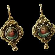 Adorable Porcelain Cherub Earrings, Circa 1850