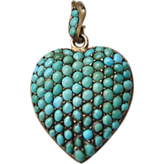 REDUCED HUGE Victorian Turquoise Heart Locket Gold on Silver!