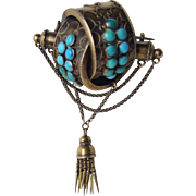 Victorian Etruscan Revival 14k Turquoise Knot Brooch with Tassel, Unique!