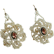 """Georgian micro Seed Pearl and """"Oil and Vinigar"""" Paste Earrings Fabulous!"""