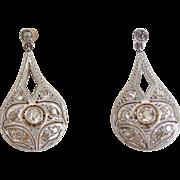 Exquisite Antique Diamond Drop Earrings