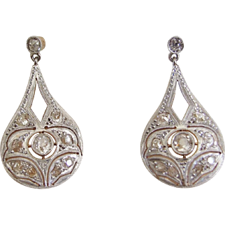 Exquisite Antique Diamond Drop Earrings