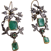 CUPID'S BOW & ARROW Unique Victorian Diamond and Emerald Earrings!