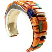 REDUCED Native American Indian Sterling Silver Spiny Oyster Shell Cornrow Inlaid Bracelet, Sig