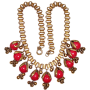REDUCED Vintage Miriam Haskell Book Chain Red Bead Dangle BIb Necklace