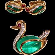 REDUCED Trifari Flawed Emerald, Ruby Glass Cabochon Rhinestone Swan Brooch and Earring Set