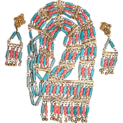 Egyptian Revival Coral Glass & Turquoise Blue Faience Necklace, Earrings Set