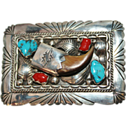 REDUCED Vintage Sterling Silver Navajo Indian Turquoise Coral and Bear Claw Belt Buckle