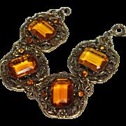 REDUCED Art Deco Amber Czech Glass Brass Filigree Bracelet
