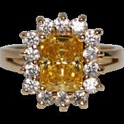 Vintage 14k YG Yellow & White Cubic Zirconia Ring, Size 6