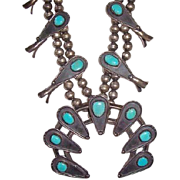 REDUCED Vintage Pawn Navajo Native American Turquoise & Sterling Silver Squash Blossom Nec