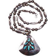 REDUCED Vintage Navajo Indian Sterling Silver & Turquoise Shadow Box Necklace
