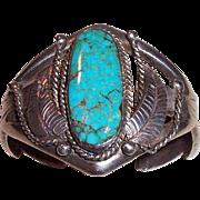 REDUCED Vintage Sand Cast Navajo Indian Sterling Silver and Turquoise Bracelet
