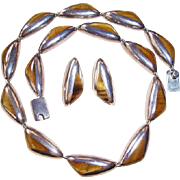 REDUCED Vintage J Comes Taxco Mexico 970 Sterling Silver Tiger Eye Necklace & Earrings Set