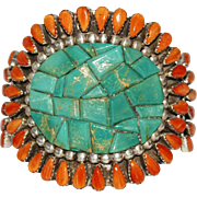 REDUCED Native American Southwestern Mosaic Turquoise & Spiny Oyster Cuff Bracelet, HUGE!!!