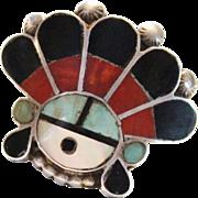 REDUCED Vintage Zuni Indian Multi Stone Inlay Sunface Kachina Ring, Turquoise, Coral, Jet & Mo