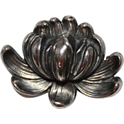 REDUCED Art Nouveau William B. Kerr Sterling Water Lily Pin Brooch, 1542