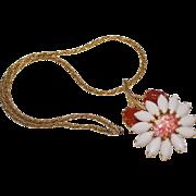 Vintage Schreiner New York White Rhinestone Daisy Flower Mottled Salmon Art Glass Molded Leave
