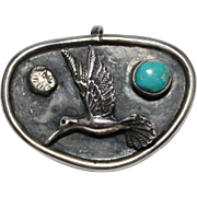 REDUCED Vintage Native American Indian Sterling & Turquoise Hummingbird Pendant