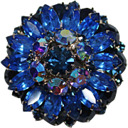 REDUCED Vintage Shades of Blue Tiered Rhinestone Cluster Flower Brooch