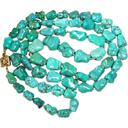 """Vintage Chinese Turquoise Nugget Necklace, Knuckle Bone Bead, 31"""""""