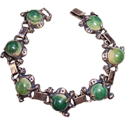 Vintage Mexico Sterling Silver Mexican Jade Calcite Frog Link Bracelet – Pre Eagle