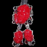 REDUCED Vintage Selro Red Devil Noh Mask Bolo Necklace