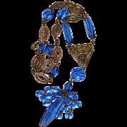 REDUCED Art Deco Cobalt Blue Czech Glass & Filigree Brass Dangle Necklace