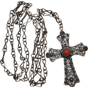 """REDUCED Antique 800 Silver FIligree Cannetille Coral Cross Pendant Necklace, Extra Long, 34"""""""