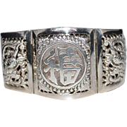 Vintage Chinese Export Sterling Silver Repousse Panel Bracelet, 4 Seasons, Signed Sir T.