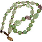 REDUCED Vintage Miriam Haskell Green & Purple Art Glass Flower Necklace, 15""