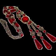 Art Deco Red Czech Glass Dangle Drop Long Necklace