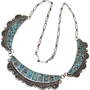 REDUCED Estate Sterling Native American Indian Dry Creek Turquoise Inlay Panel Necklace