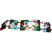 REDUCED Vintage Taiwan Asian Enamel Cloisonne Bracelet by Robert Kuo
