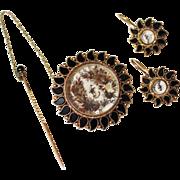 Antique 14k Gold Mourning Jewelry Set, Brooch, Earrings, Jet, Hair Jewelry
