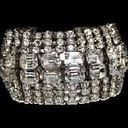 Vintage Extra Wide Clear Rhinestone Bracelet, 8 - Rows